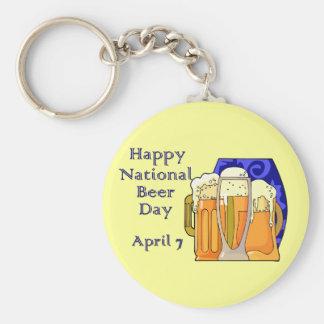 Cerveza día 7 de abril nacional llavero redondo tipo pin
