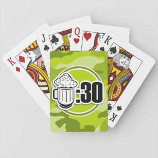 Cerveza divertida: 30, camo verde claro, camuflaje baraja de póquer