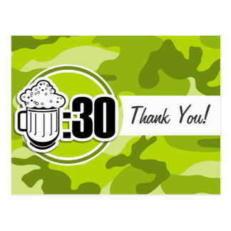 Cerveza divertida: 30, camo verde claro, camuflaje postales