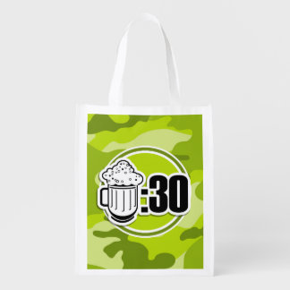 Cerveza divertida: 30, camo verde claro, camuflaje bolsa reutilizable