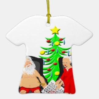 Cerveza divertida del navidad que bebe a Papá Noel Adorno De Navidad