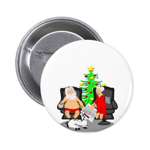 Cerveza divertida del navidad que bebe a Papá Noel Pins