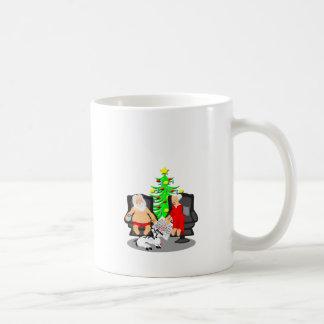 Cerveza divertida del navidad que bebe a Papá Noel Taza De Café