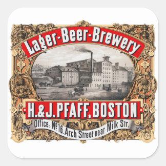 Cerveza dorada Boston de la cervecería H&J Pfaff Pegatina Cuadrada