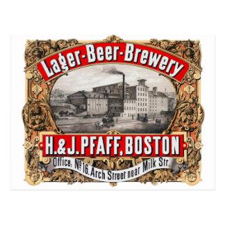 Cerveza dorada Boston de la cervecería H&J Pfaff Postal