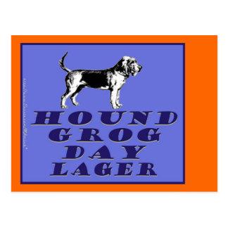 Cerveza dorada del azul del día del grog del perro postal