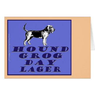 Cerveza dorada del azul del día del grog del perro tarjeta pequeña