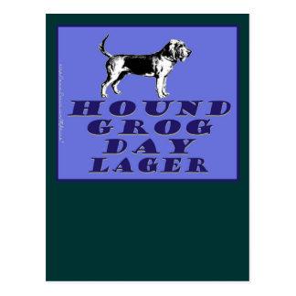 Cerveza dorada del azul del día del grog del perro tarjetas postales