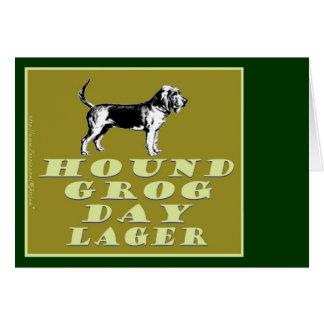 Cerveza dorada del oro del día del grog del perro tarjeta de felicitación