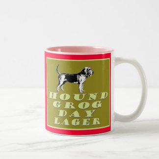 Cerveza dorada del oro del día del grog del perro taza de dos tonos
