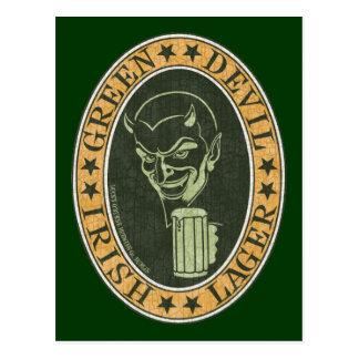 Cerveza dorada verde del diablo tarjetas postales