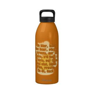 CERVEZA en botella de agua de las idiomas - elija