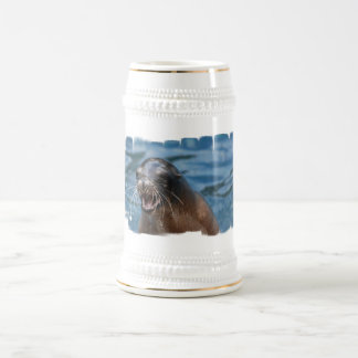 Cerveza enojada Stein del león marino Tazas
