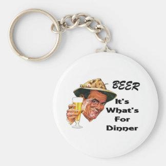 ¡Cerveza - es cuál está para la cena! Llavero Redondo Tipo Pin