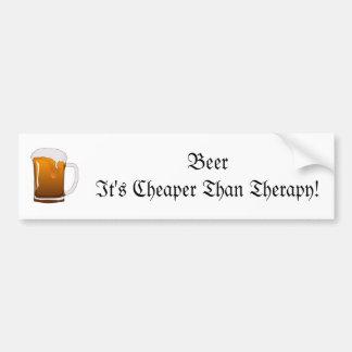 ¡Cerveza es más barato que terapia! Pegatina Para Auto