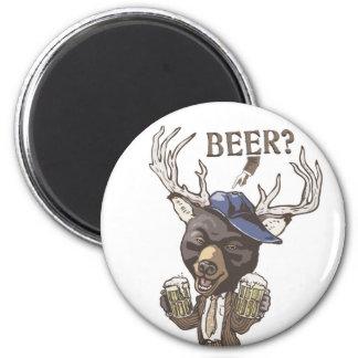 ¿Cerveza fría? Híbrido divertido de los ciervos de Imán Redondo 5 Cm