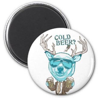 ¿Cerveza fría? Híbrido polar divertido de los cier Imán Redondo 5 Cm