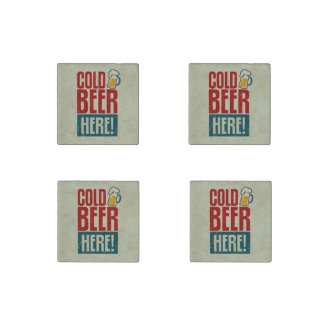 Cerveza fría imán de piedra