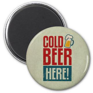Cerveza fría imán redondo 5 cm