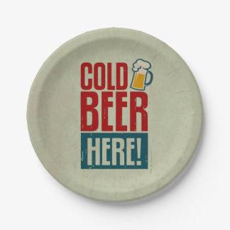 Cerveza fría plato de papel de 7 pulgadas