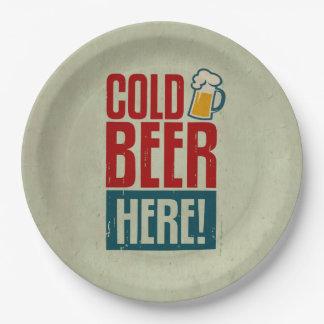 Cerveza fría plato de papel de 9 pulgadas