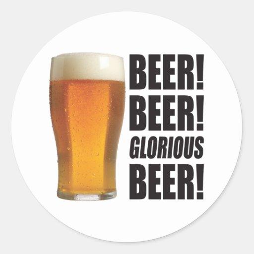 Cerveza gloriosa pegatinas redondas