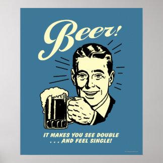 Cerveza: Hace que usted ve el doble Poster
