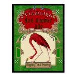 Cerveza inglesa ambarina roja del flamenco postal