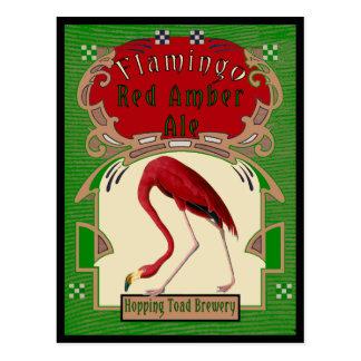 Cerveza inglesa ambarina roja del flamenco postales