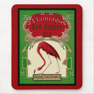 Cerveza inglesa ambarina roja del flamenco tapetes de ratones