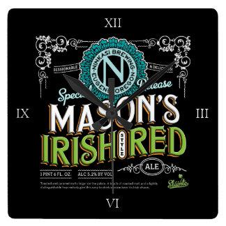 Cerveza inglesa roja irlandesa reloj cuadrado