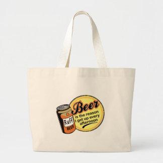Cerveza, la razón me levanto cada tarde bolsa tela grande
