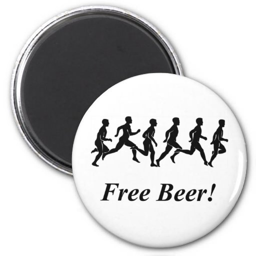 ¡Cerveza libre! Imán Redondo 5 Cm