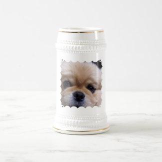 Cerveza linda Stein del perrito de Pekingese Tazas De Café