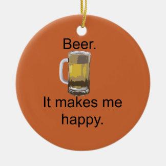 Cerveza. Me hace feliz Adorno Navideño Redondo De Cerámica