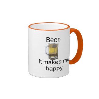 Cerveza. Me hace feliz Taza De Dos Colores