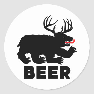 Cerveza -- Oso + Ciervos Pegatina Redonda