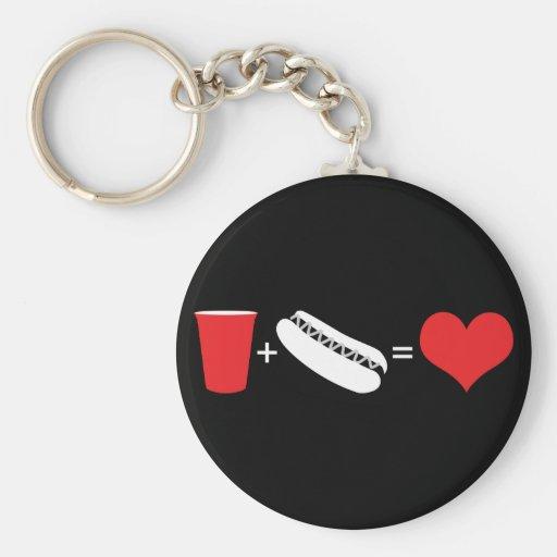 cerveza + perritos calientes = amor llavero personalizado