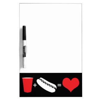cerveza + perritos calientes = amor pizarras
