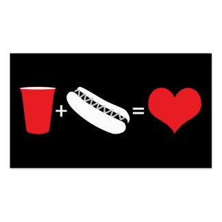 cerveza + perritos calientes = amor plantilla de tarjeta de visita