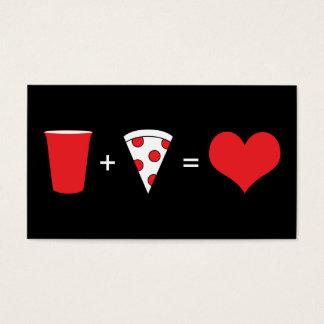 cerveza + pizza = amor tarjeta de negocios