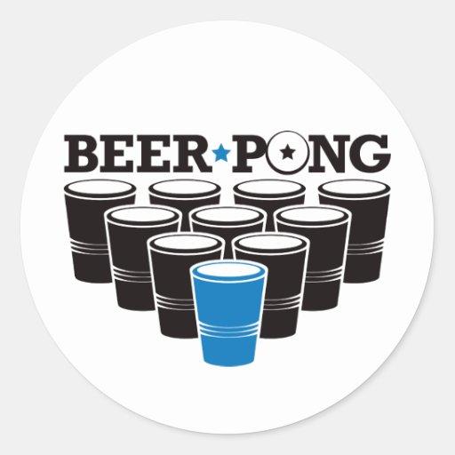 Cerveza Pong básico - azul Etiquetas Redondas