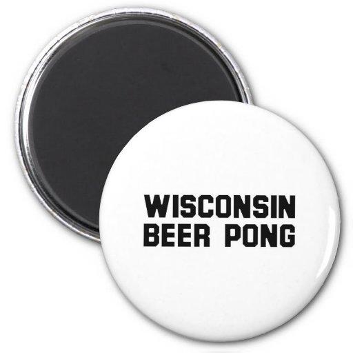 Cerveza Pong de Wisconsin Imán De Nevera
