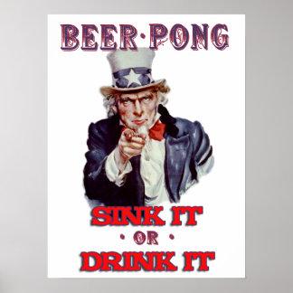 Cerveza Pong del tío Sam - húndala o bébala Póster