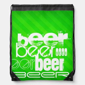 Cerveza; Rayas verdes de neón Mochila