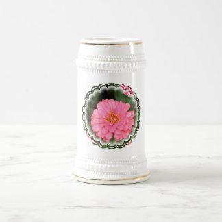 Cerveza rosada Stein del Zinnia Tazas