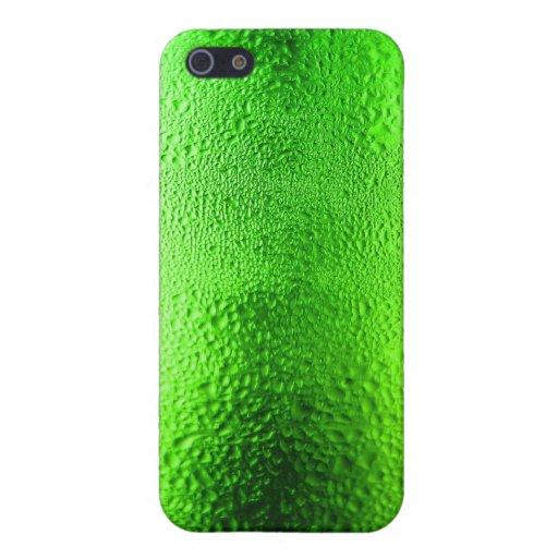 Cerveza rubia fresca en botella verde iPhone 5 fundas