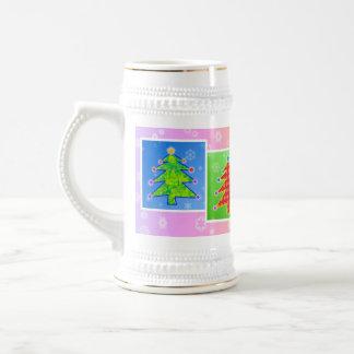 Cerveza Stein - árboles de navidad del arte pop Jarra De Cerveza