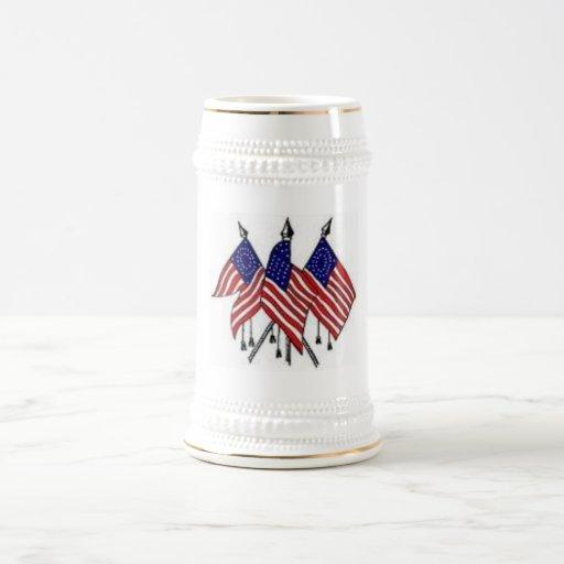 Cerveza Stein de 3 banderas de los E.E.U.U. Jarra De Cerveza