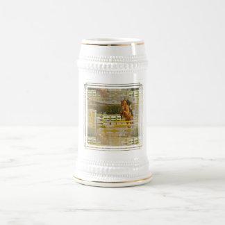 Cerveza Stein de la demostración del caballo del p Taza